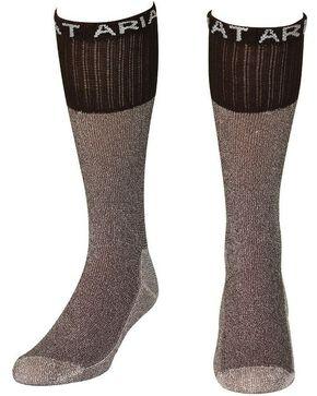 Ariat Men's Regular Brown Boot Socks, Brown, hi-res