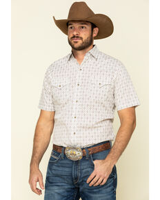 Ely Walker Men's Multi Aztec Geo Print Short Sleeve Western Shirt - Tall, Beige/khaki, hi-res