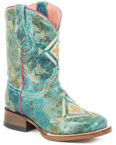 Roper Girls' Addy Western Boots - Square Toe, Blue, hi-res
