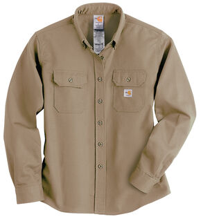 Carhartt Flame Resistant Twill Long Sleeve Top, Khaki, hi-res