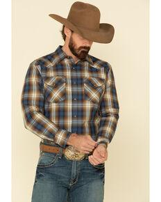 Pendleton Men's Blue Frontier Plaid Long Sleeve Snap Western Shirt , Blue, hi-res