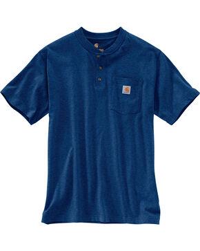 Carhartt Short Sleeve Henley Work Shirt, Dark Blue, hi-res