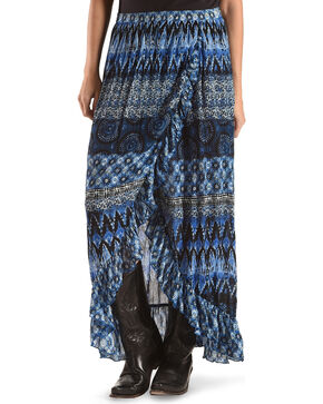 Bila Women's Blue Ruffle Printed Skirt , Blue, hi-res