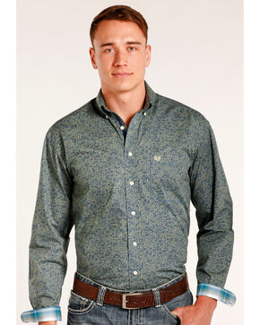 Rough Stock by Panhandle Men's Magadini Vintage Print Long Sleeve Snap Shirt, Green, hi-res