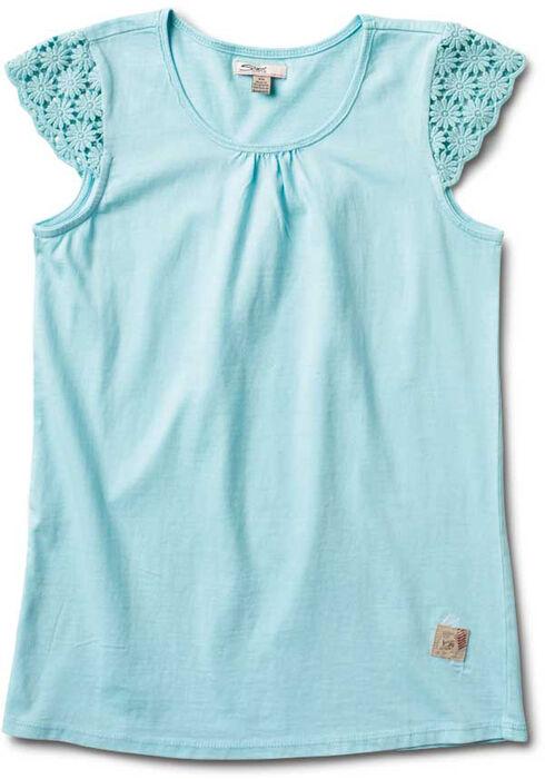 Silver Girls' Crochet Cap Sleeve Top, Aqua, hi-res