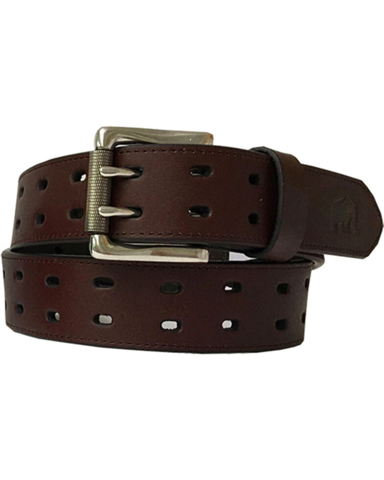 Berne Men's Genuine Leather Double Row Belt , Brown, hi-res