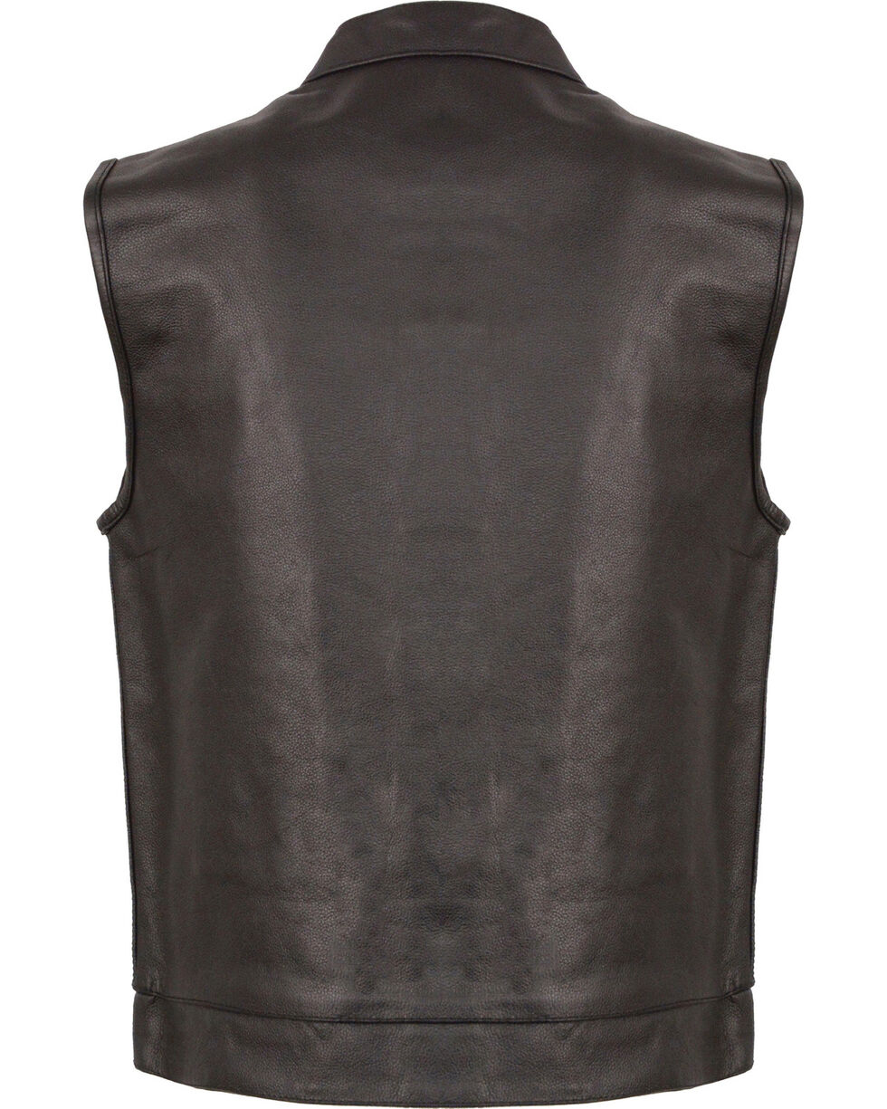 Milwaukee Leather Men's Black Open Neck Club Style Vest , Black, hi-res