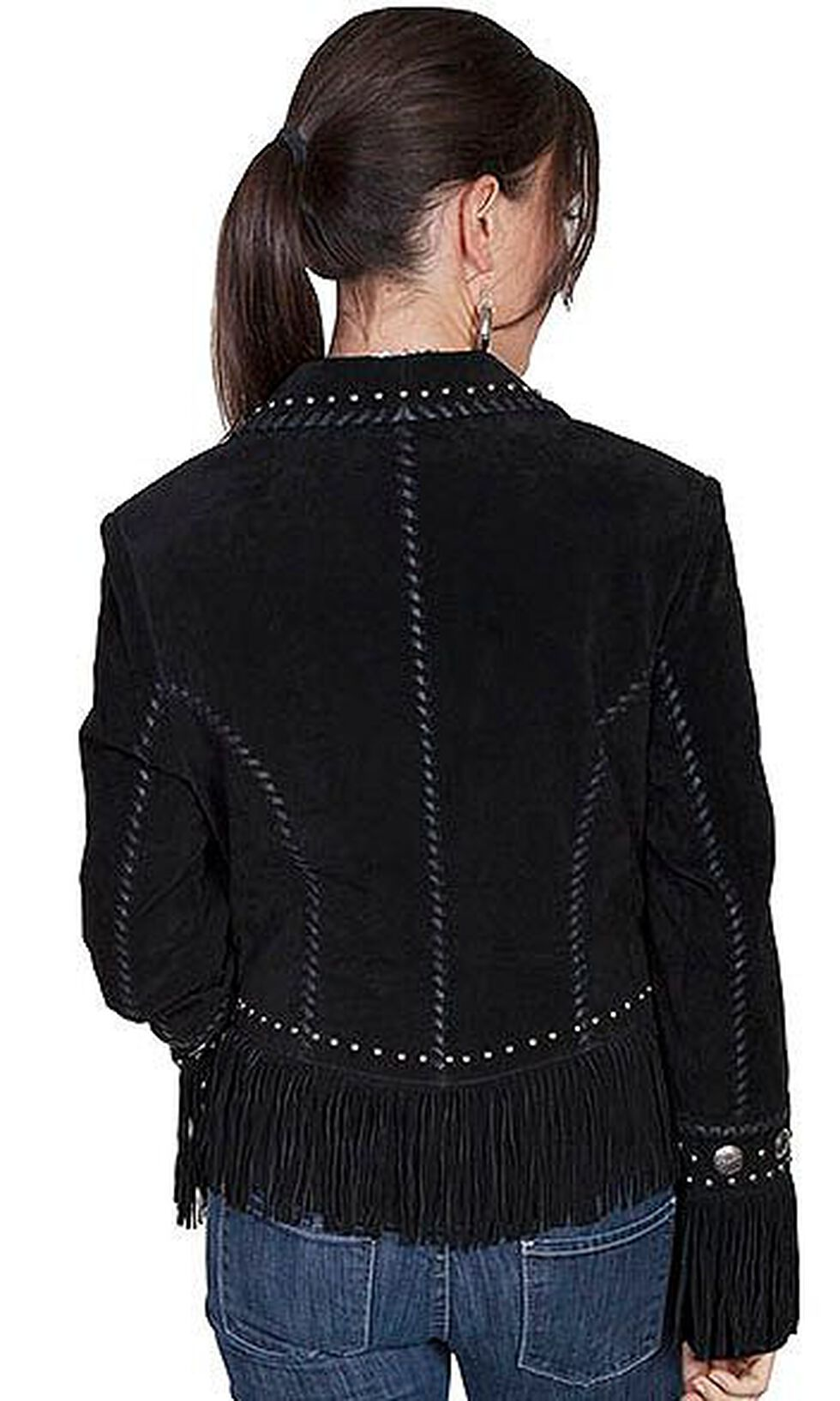 Scully Long Lapel Suede Fringe Jacket, Black, hi-res