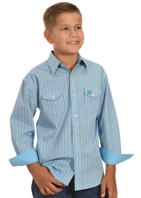 Panhandle Boys' Satin Checkered Shirt , Blue, hi-res