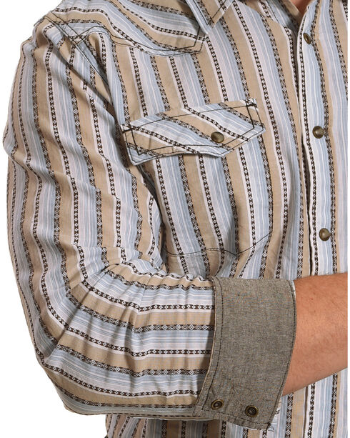 Cody James Men's Lariat Striped Western Long Sleeve Shirt, Tan, hi-res