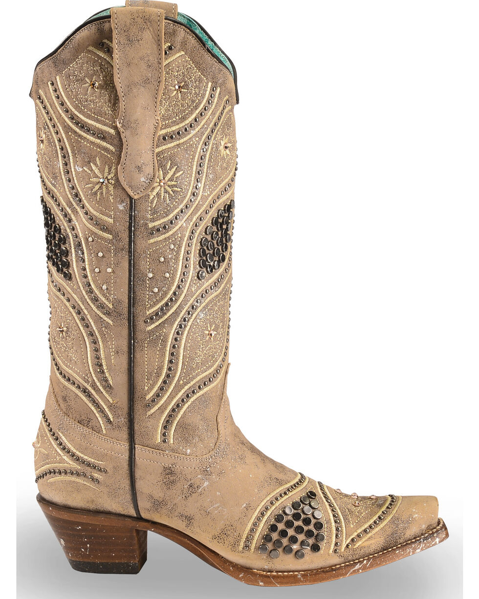 Corral Women's Embroidered Studded Bridal Cowgirl Boots - Snip Toe, Brown, hi-res