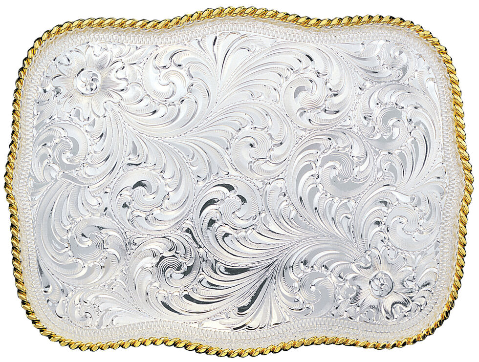 Montana Silversmiths Silver Engraved Scalloped Western Belt Buckle, Multi, hi-res