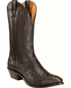 Boulet Men's 4-Piece Smooth Black Ostrich Boots - Medium Toe, Black, hi-res