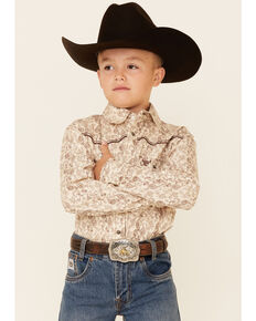 Cowboy Hardware Boys' Brown Paisley Print Long Sleeve Snap Western Shirt , Brown, hi-res