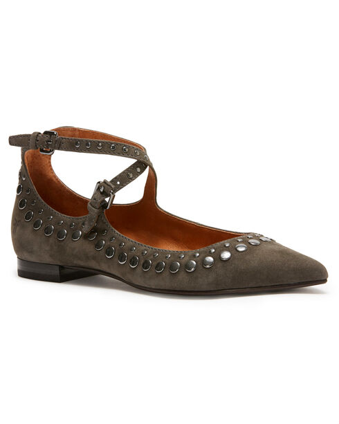 Frye Women's Grey Sienna Stud Criss Cross Ballet Flats - Pointed Toe, Grey, hi-res