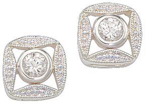 Montana Silversmiths Bezel Rhinestone Earrings, Silver, hi-res