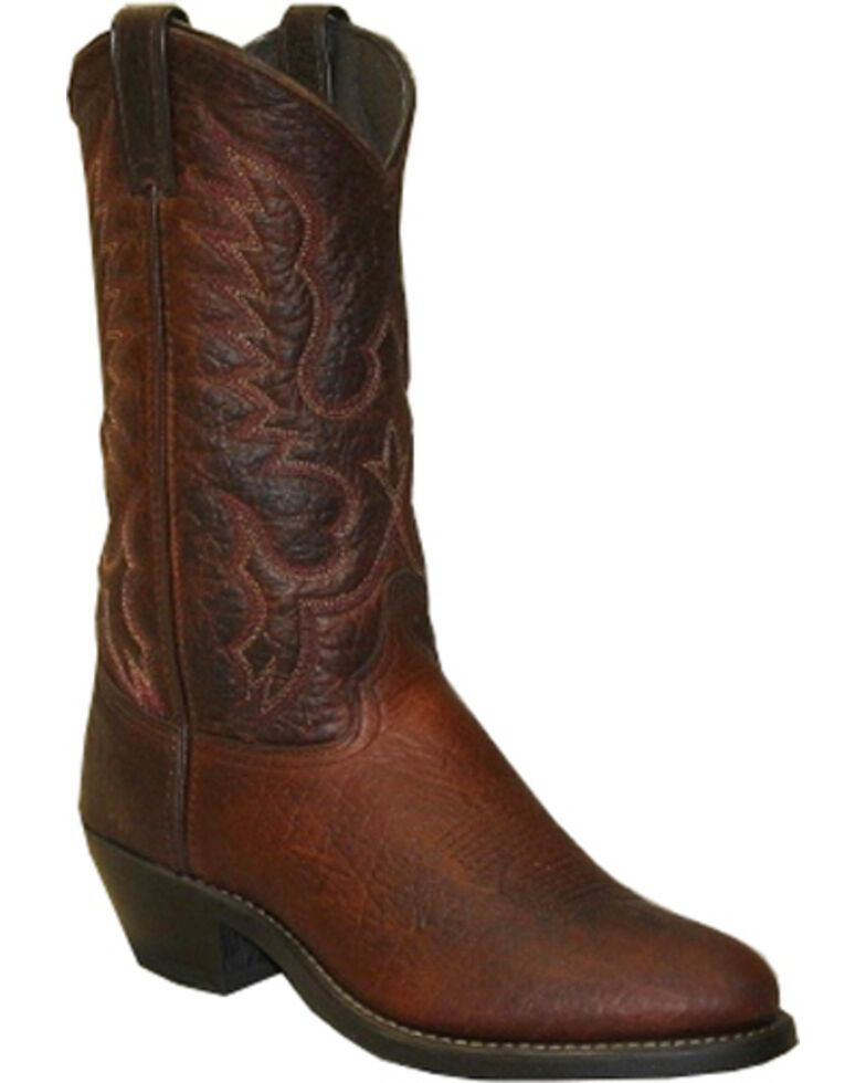 Abilene Bison Leather Cowboy Boots - Medium Toe, Brown, hi-res