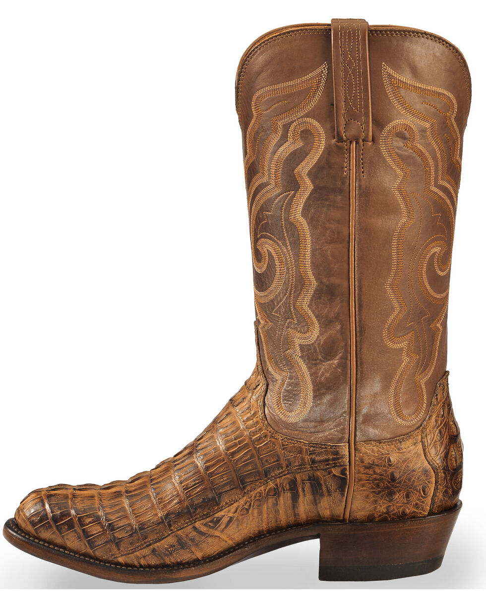 Lucchese Men's Handmade Tan Franklin Hornback Caiman Tail Boots - Round Toe , Tan, hi-res