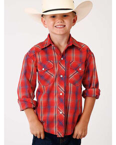 Roper Boys' Classic Red Plaid Long Sleeve Western Shirt , Red, hi-res
