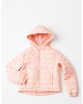 Shyanne Girls' Heart Puffer Zip-Up Hooded Jacket , Pink, hi-res
