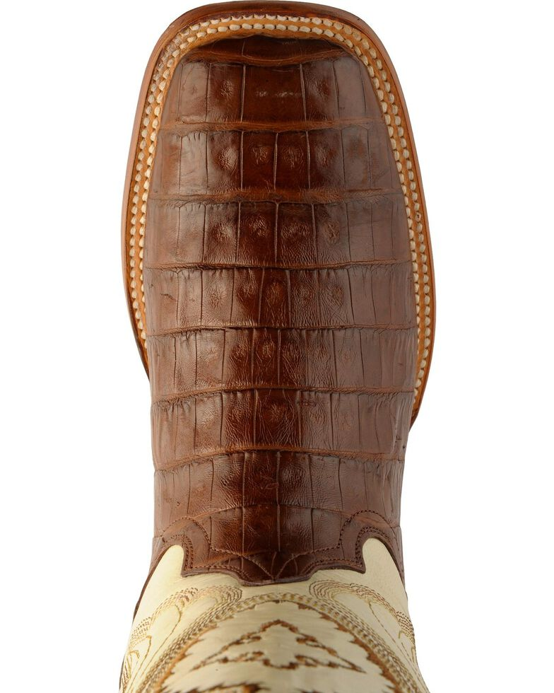 Ferrini Men's Chocolate Caiman Belly Cowboy Boots - Wide Square Toe, Chocolate, hi-res