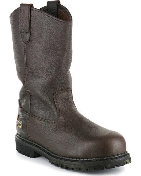"Georgia Men's 10"" Leather Work Boots - Steel Toe, Brown, hi-res"