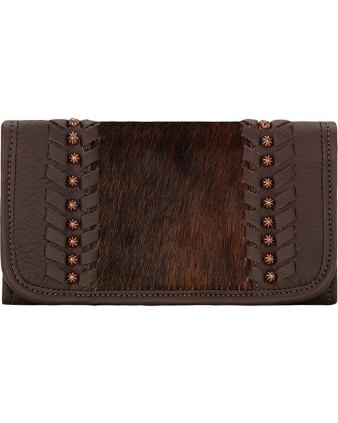 American West Women's Cow Town Chocolate Tri-Fold Wallet , Chocolate, hi-res