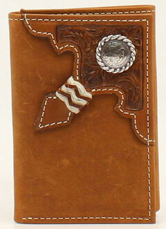 Ariat Embossed Tab Rawhide Knot Concho Tri-Fold Wallet, Aged Bark, hi-res