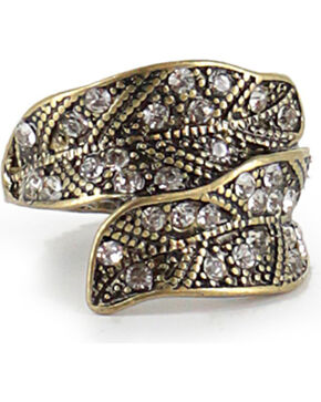 Shyanne Women's Gold Antiqued Gold-Tone Feather Ring , Gold, hi-res