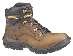 "Caterpillar Flexion Generator 6"" Lace-Up Work Boots - Round Toe, Dark Brown, hi-res"