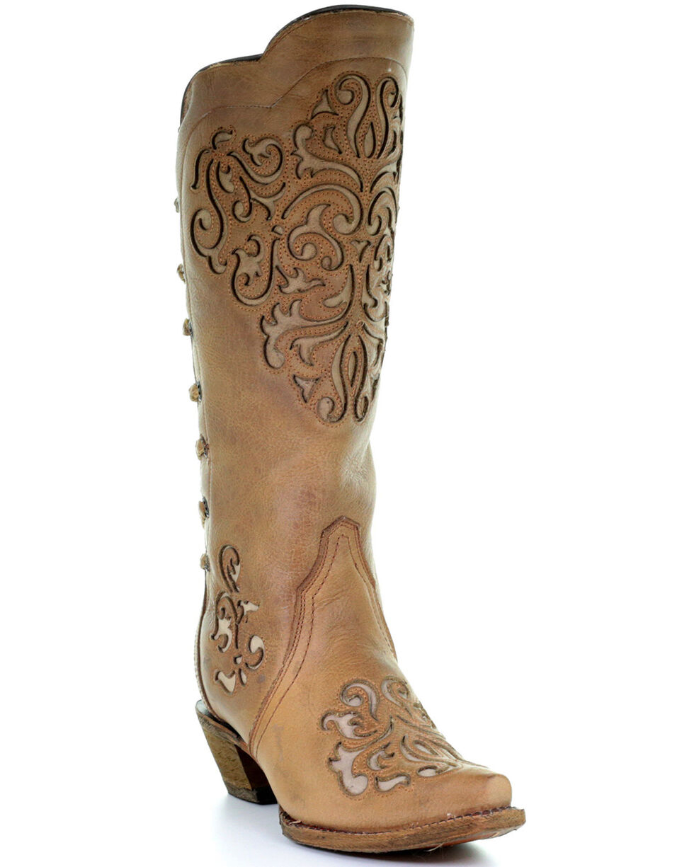 Corral Women's Brown Cowhide with Inlays and Back Laced Cowgirl Boots - Snip Toe, Brown, hi-res