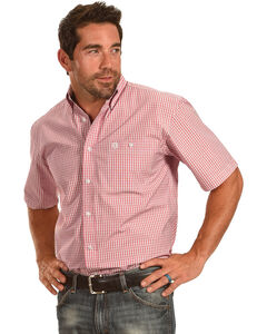 George Strait by Wrangler Men's Plaid Short Sleeve Shirt , Red, hi-res