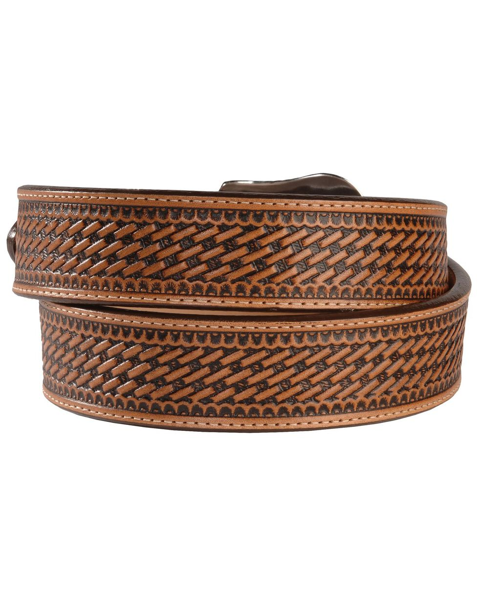 Justin Bronco Basketweave Leather Belt, Tan, hi-res