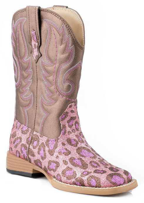 Roper Girls' Glittery Pink Leopard Print Cowgirl Boots - Square Toe, Pink, hi-res