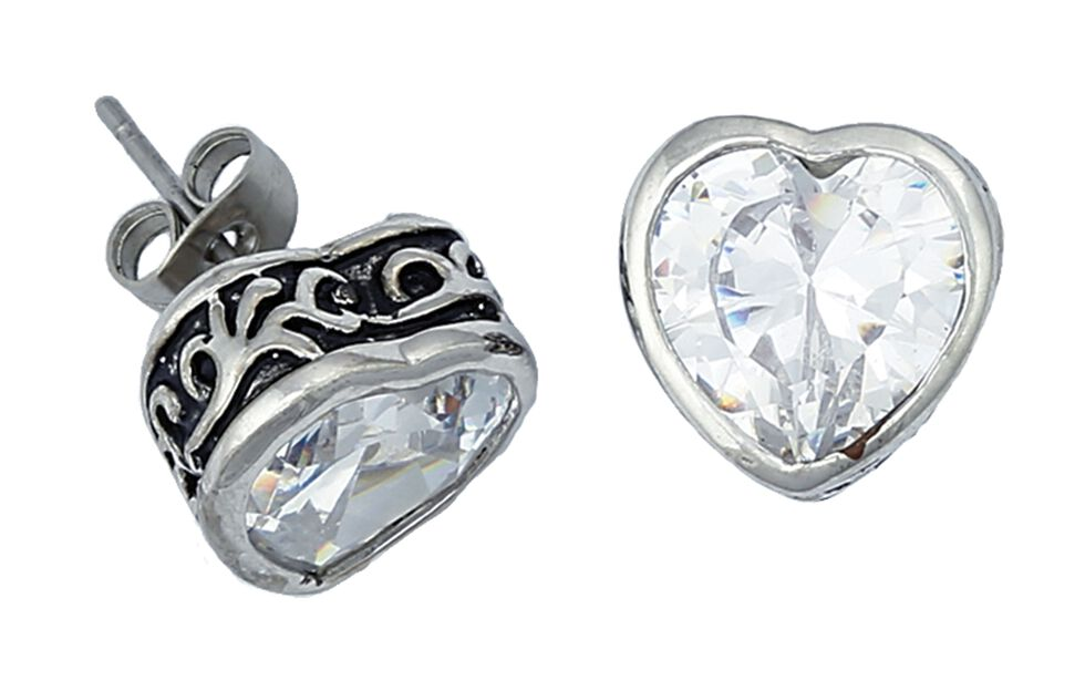 Montana Silversmiths Crystal Heart Earrings, Silver, hi-res