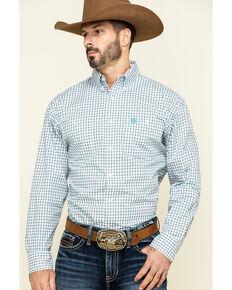 George Strait By Wrangler Men's Blue Med Plaid Long Sleeve Western Shirt , Blue, hi-res