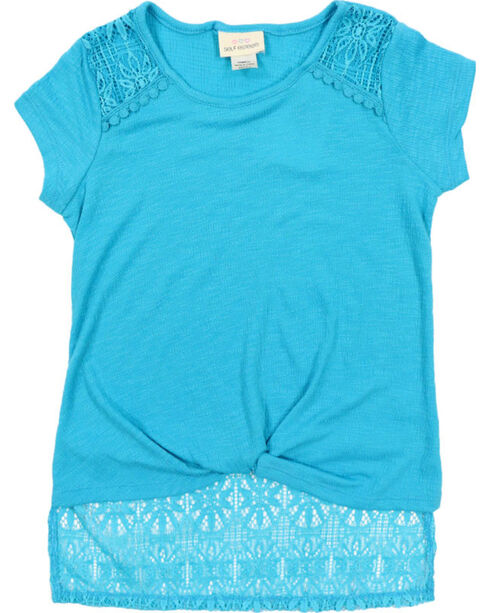 Self Esteem Girls' Turquoise Lace Trim Patterned Scarf Shirt , Turquoise, hi-res