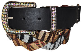 Cowgirls Rock Women's Multi Zebra Glitter Braid Belt, Multi, hi-res