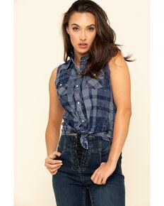 Rock & Roll Cowgirl Women's Denim Plaid Frayed Sleeveless Western Shirt , Blue, hi-res