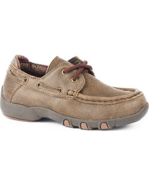 Roper Boys' Brown Vintage Leather Boat Shoes - Moc Toe, Tan, hi-res