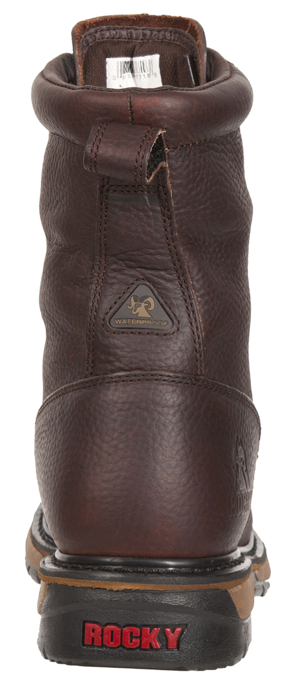 Rocky Original Ride Waterproof Western Lacer Boots - Safety Toe, Dark Brown, hi-res
