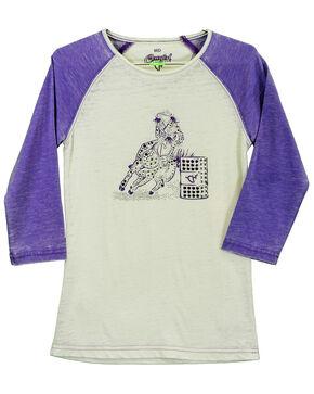 Cowgirl Hardware Toddler Girls' Barrel Racer Basic Raglan, Purple, hi-res