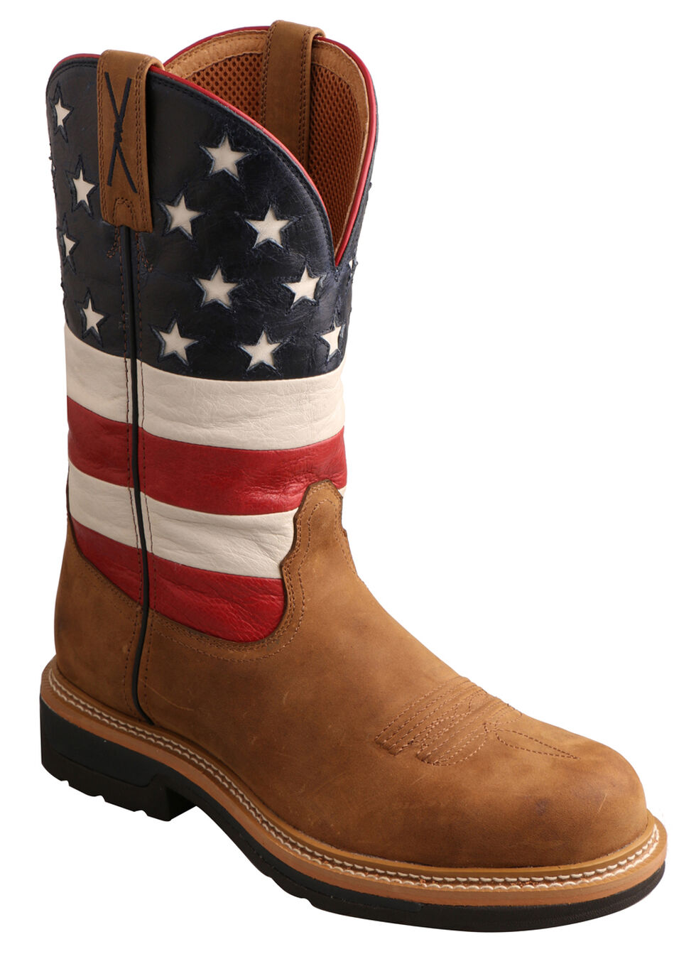 Twisted X VFW American Flag Lite Cowboy Work Boots - Steel Toe , Distressed, hi-res