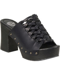 Milwaukee Leather Women's Black Studded Lace Top Platform Shoes , Black, hi-res
