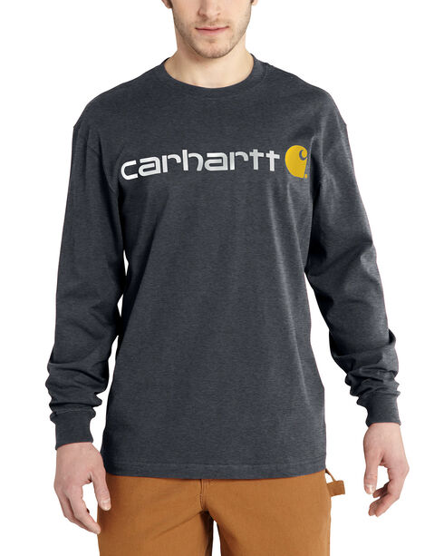 Carhartt Signature Logo Sleeve Knit T-Shirt - Big & Tall, Grey, hi-res