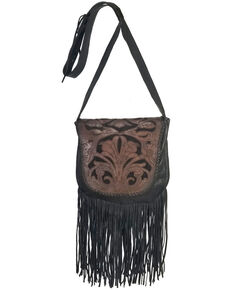 Kobler Leather Women's Black Tooled Crossbody Bag, Black, hi-res