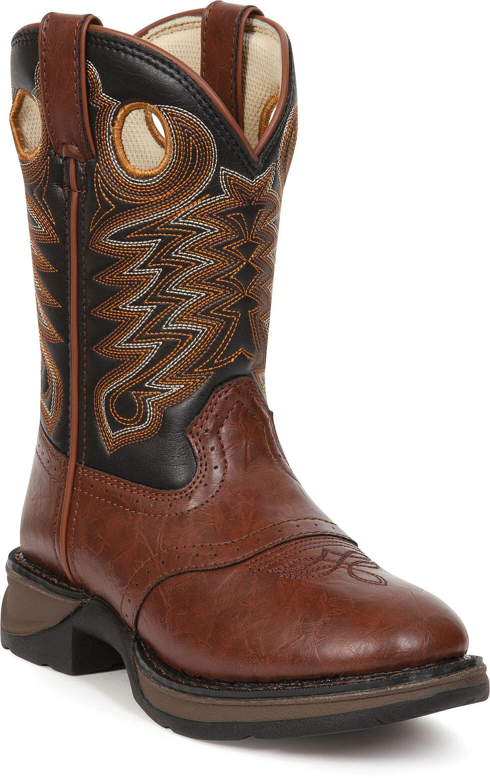 Durango Youth Saddle Vamp Lil' Durango Cowboy Boots - Round Toe, Chestnut, hi-res