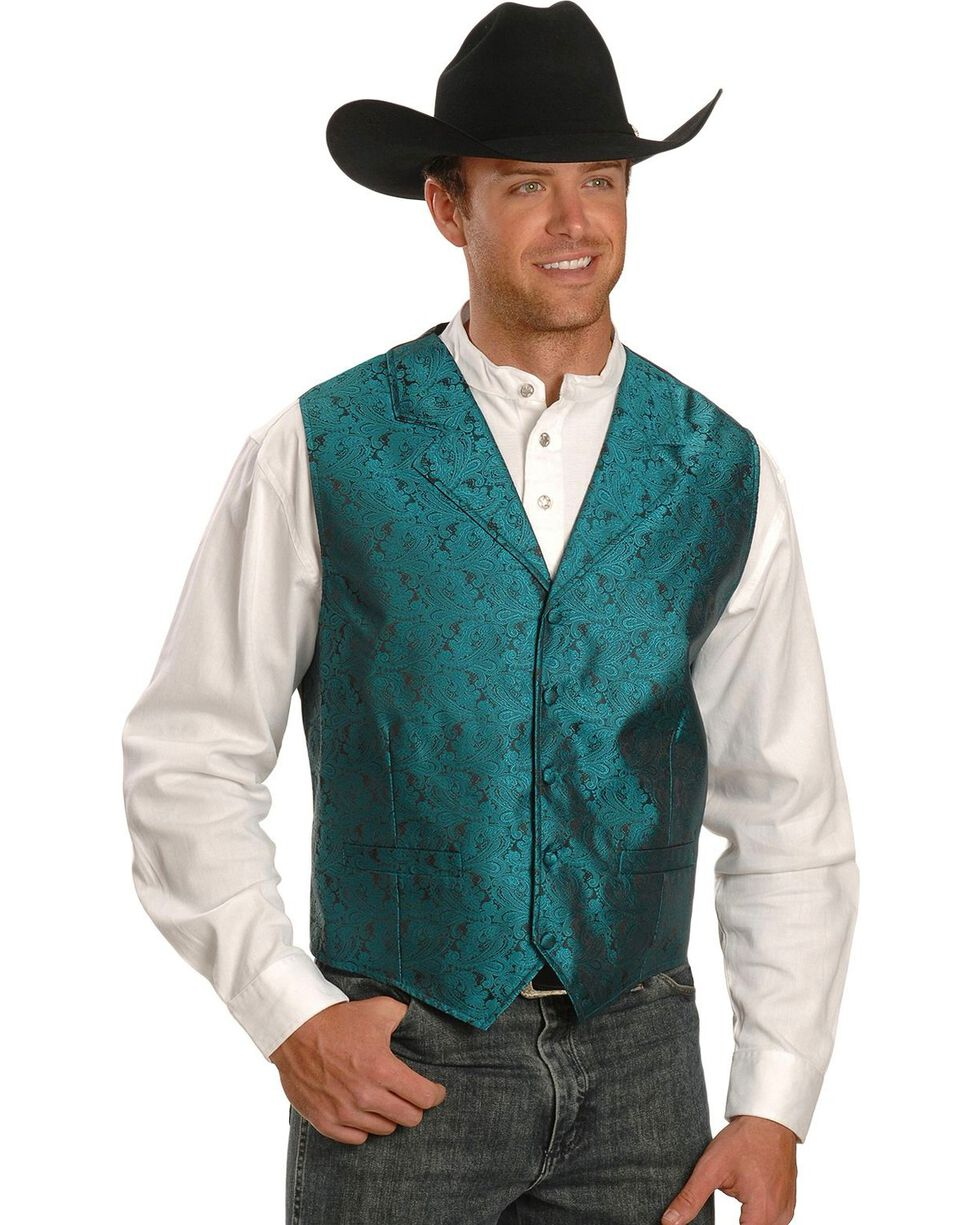 Rangewear by Scully Paisley Print Vest - Big & Tall, Teal, hi-res