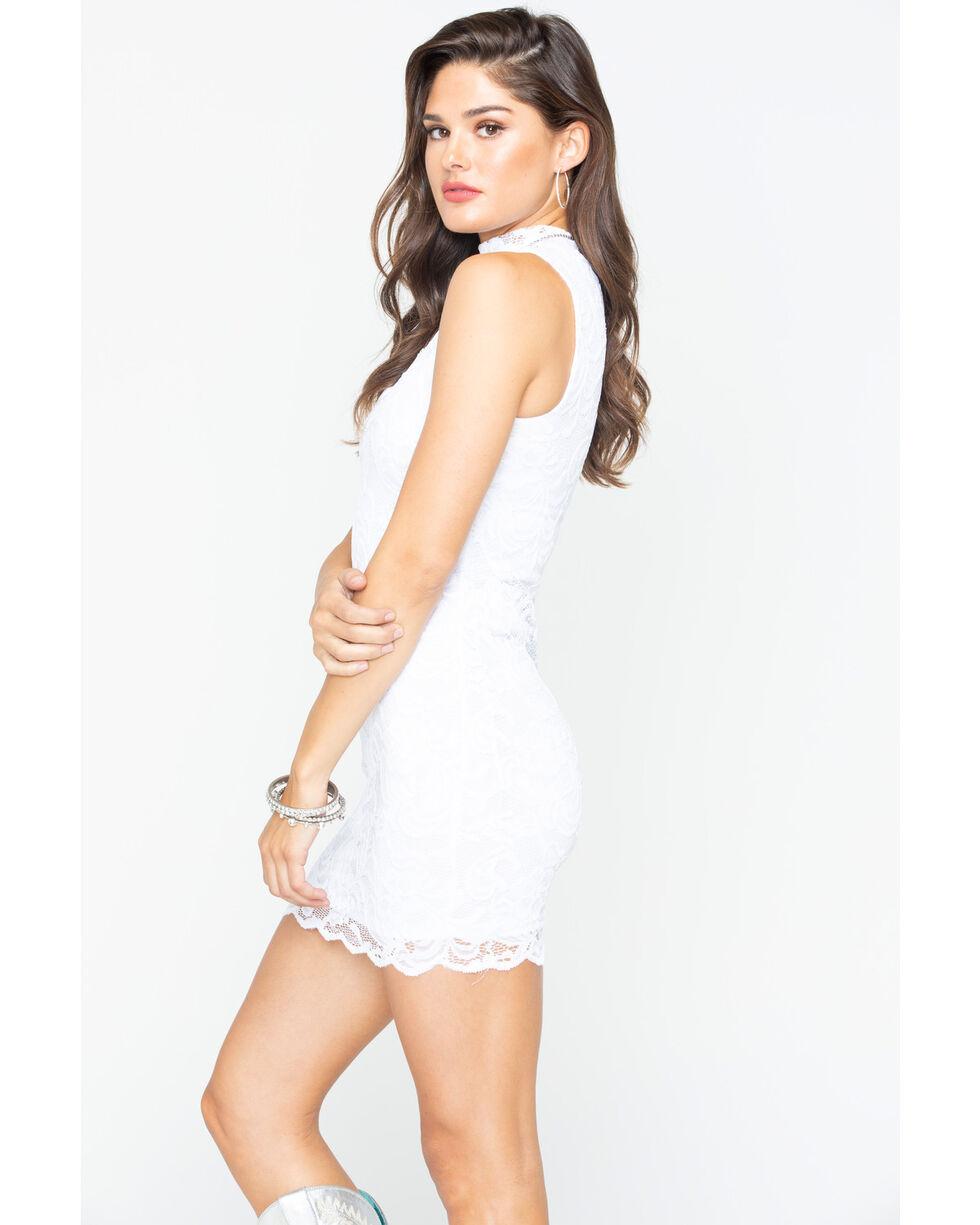 Panhandle Women's White Sleeveless Lace Choker Dress, White, hi-res