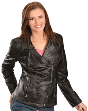Erin London Women's Black Faux Leather Motorcycle Jacket, Black, hi-res
